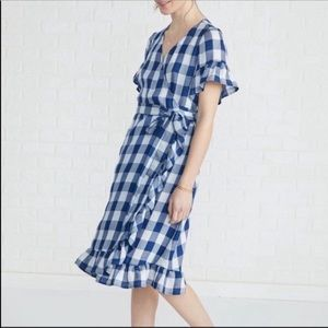 Amour Vert Gina wrap dress Checked blue white